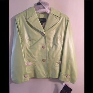 Mint green leather jacket NWT 18P